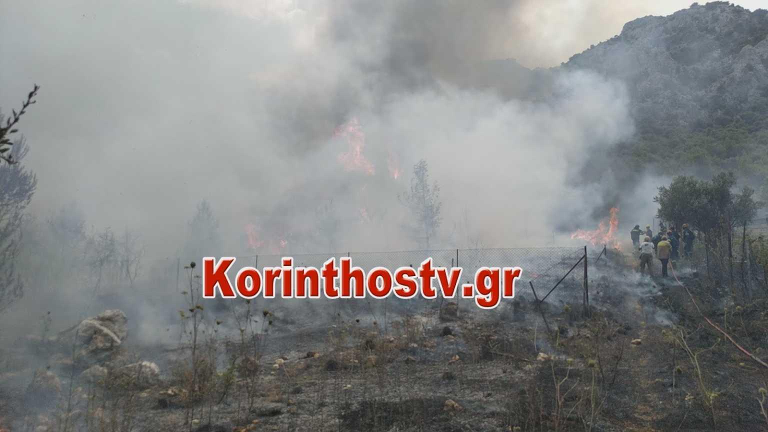 Μεγάλη φωτιά στην Κορινθία: Εκκενώνονται οικισμοί