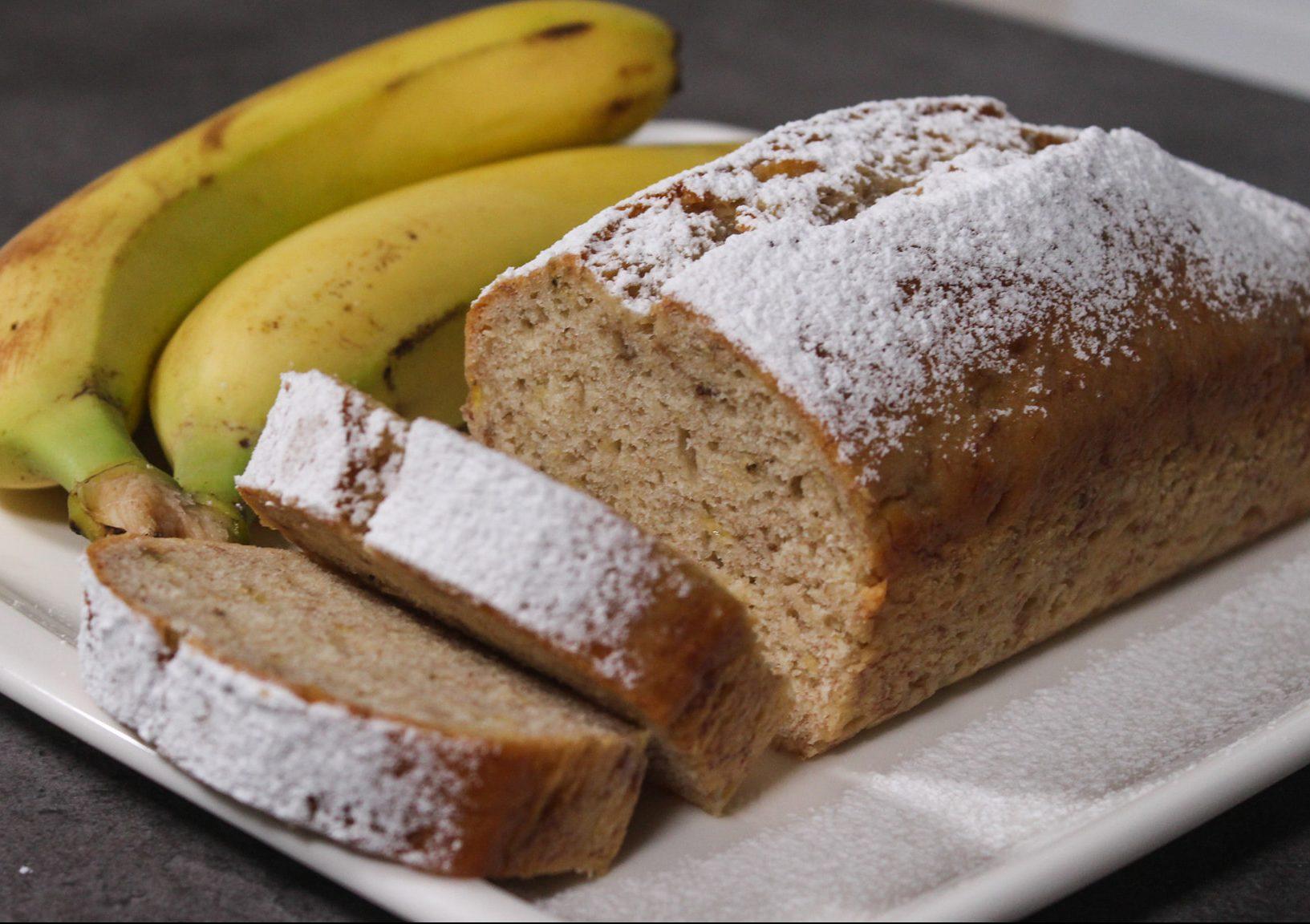 Συνταγή για μπανανόψωμο με ΜΌΝΟ 3 υλικά χωρίς αυγά, βούτυρο & μίξερ