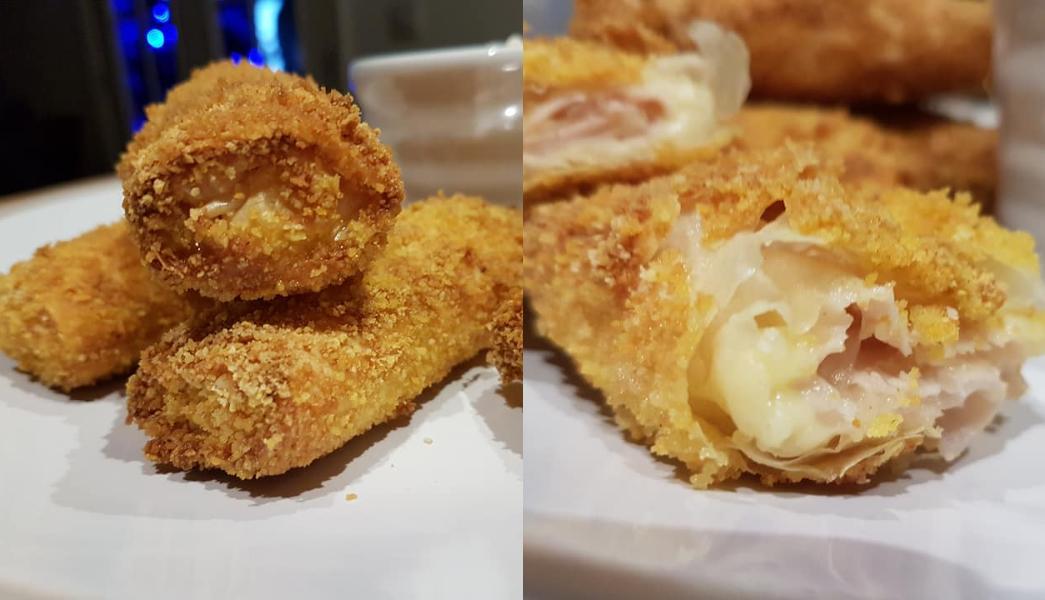 Φλογέρες πανέ με τυρί και γαλοπουλα! Γρήγορα και εύκολα!