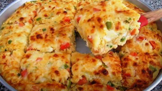 Αφράτη πίτα σαν σουφλέ με πιπεριές & πατάτες! Σμυρνέικη συνταγή!