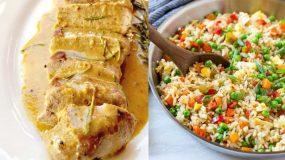 Ζουμερό ψαρονέφρι αλά κρεμ με μουστάρδα & ρύζι με λαχανικά