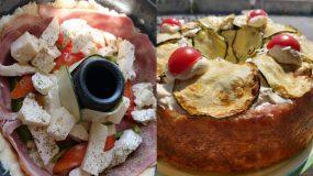 Αλμυρό κέικ γεμιστό με τυρι, μπέικον, κολοκύθι και ντομάτα