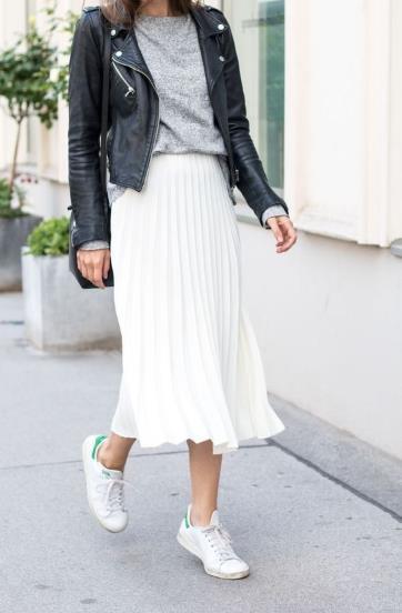 λευκή μίντι φούστα με δερματινο