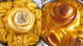 Γιορτινό ψωμί σε σχήμα λουλούδι. Δείτε πως να το φτιάξετε βήμα - βήμα!
