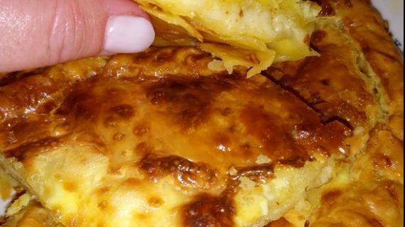 Συνταγή για κασερόπιτα με σφολιάτα και κρέμα γάλακτος.