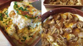 Σουφλέ με πουρέ, χοιρινό κρέας και πιπεριές ιδανικό για μπουφέ
