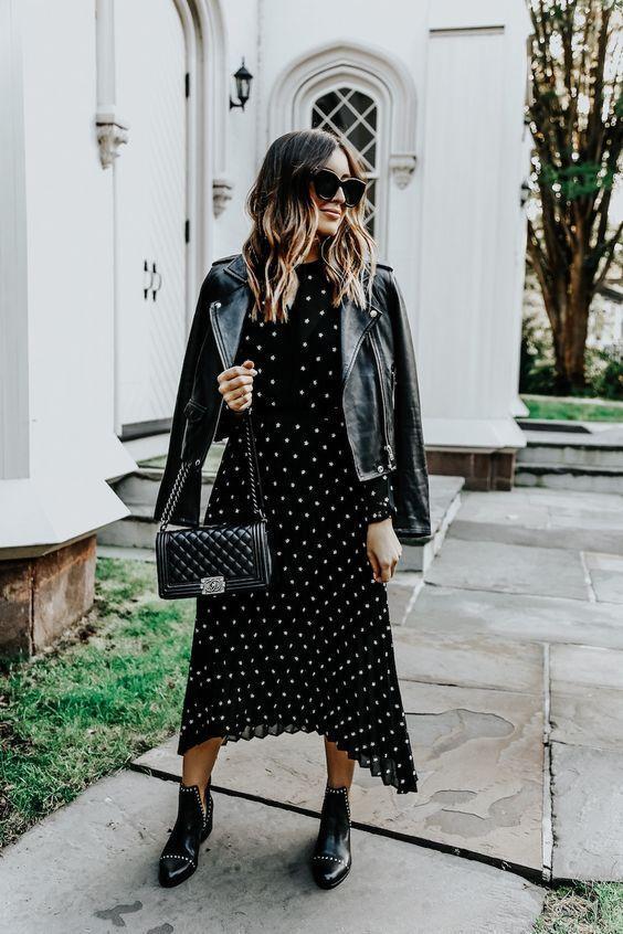 Biker jacket: με φόρεμα