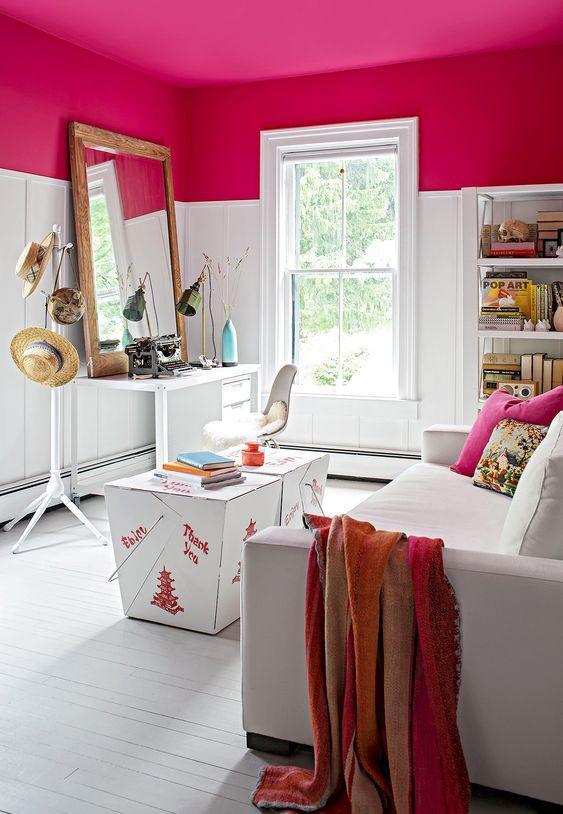 Φούξια τοίχοι στο δωμάτιο ιδέες διακόσμησης σε ροζ αποχρώσεις