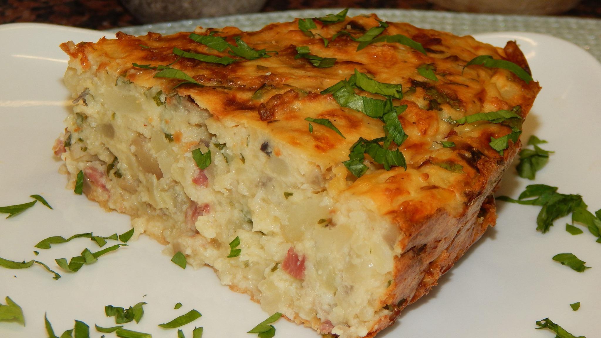 σουφλέ πατάτας με μπέικον, μανιτάρια & τυρί