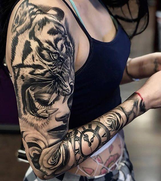 Γυναικείο τατουάζ μανίκι με τίγρη