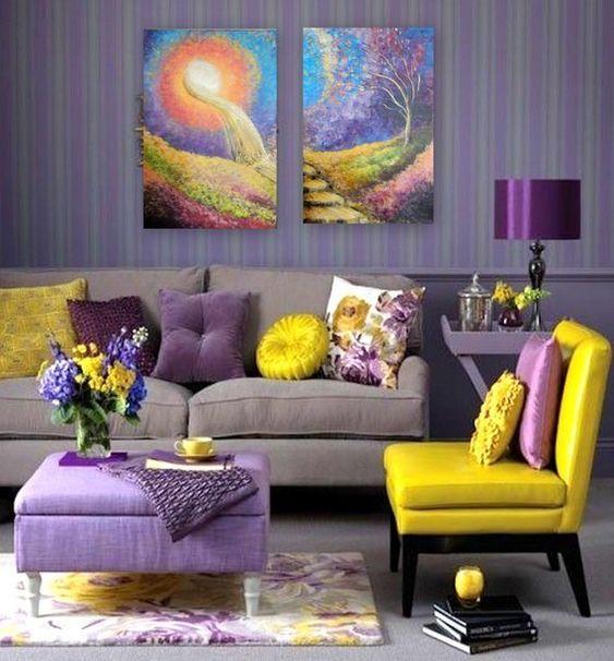 Οι τάσεις που θα κυριαρχήσουν στην διακόσμηση το 2021: Κίτρινα και μοβ χρώματα στα έπιπλα και στους τοίχους στο σαλόνι ιδέες