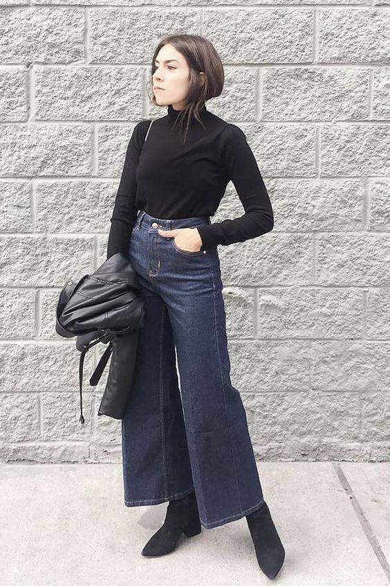 Τάσεις στα γυναικεία jean παντελόνια: σκούρο μπλε jean παντελόνι σε φαρδιά γραμμή
