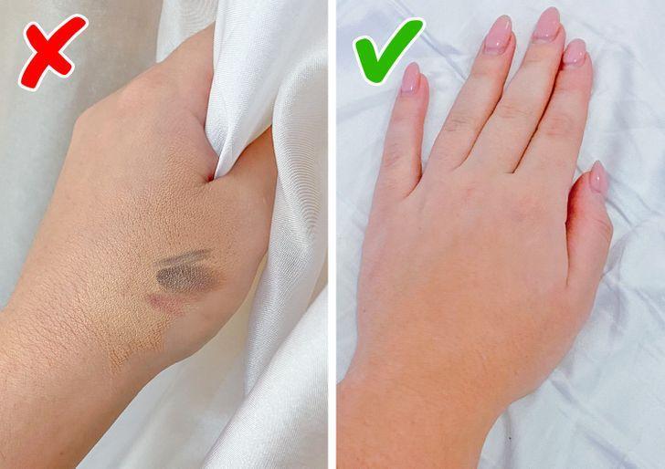 10 μικρά πράγματα που μπορούν να κάνουν κάθε γυναίκα να φαίνεται λίγο ακατάστατη: το χέρι που είναι βρώμικο από τα καλλυντικά μας