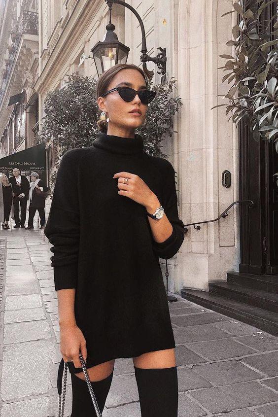 Τα πιο trendy φορέματα για το Φθινόπωρο: μαύρο πλεκτό μίνι φόρεμα