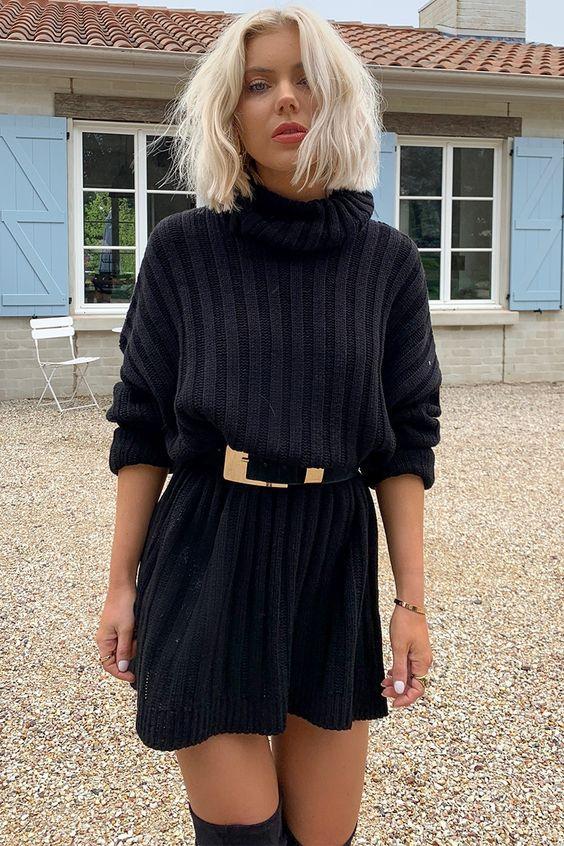 Τα πιο trendy φορέματα για το Φθινόπωρο: μαύρο πλεκτό μίνι φόρεμα με μακριά μανίκια