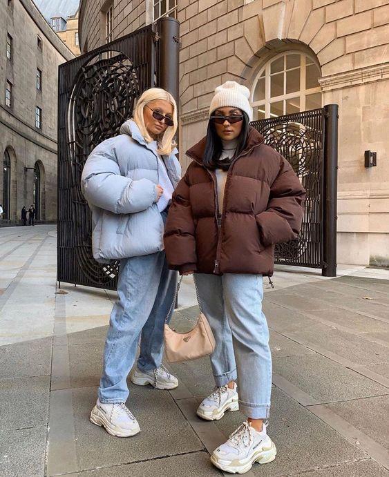 Puffer jackets: μπλε και καφέ puffer jackets