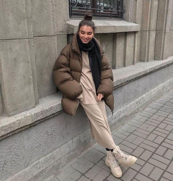Puffer jackets: καφέ puffer jacket