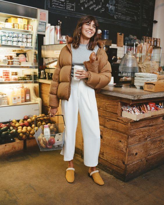 Puffer jackets: καφέ ανοιχτό puffer jacket