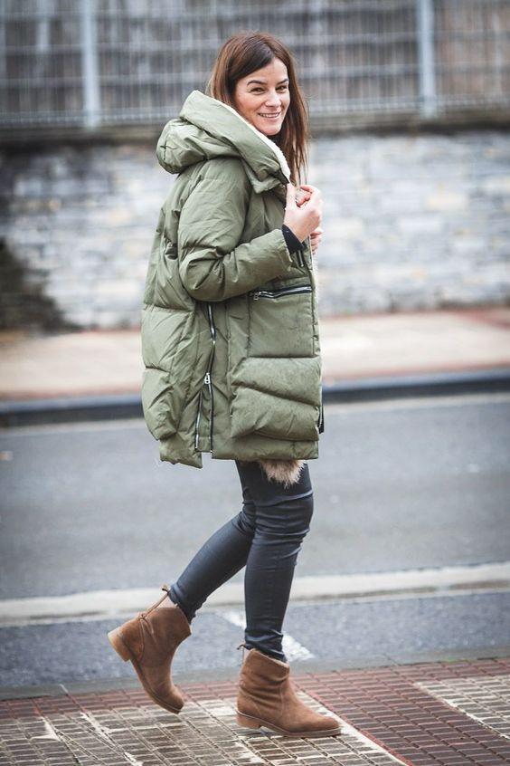 Puffer jackets: χακί μακρύ puffer jacket