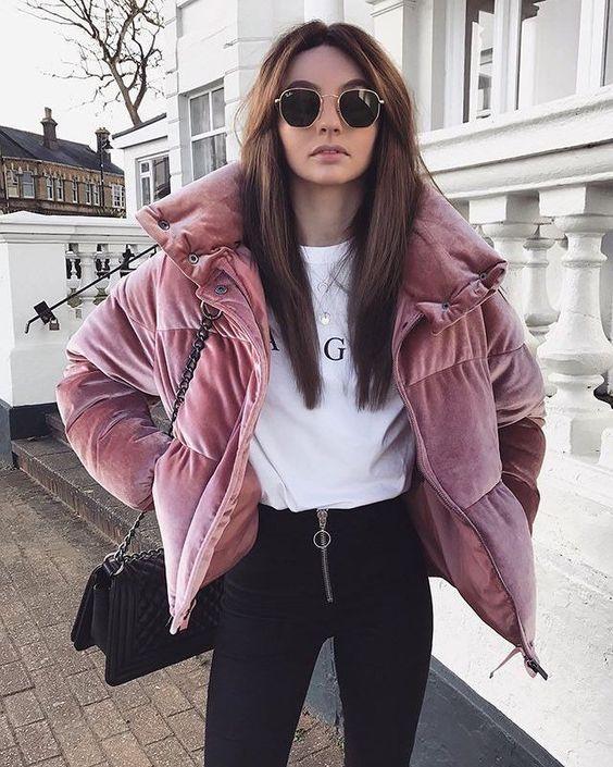 Puffer jackets: ροζ puffer jacket βελουτέ