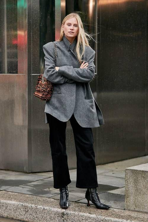 Loose-fitting jeans: Μαύρο loose fitting jean με γκρι καπαρντίνα