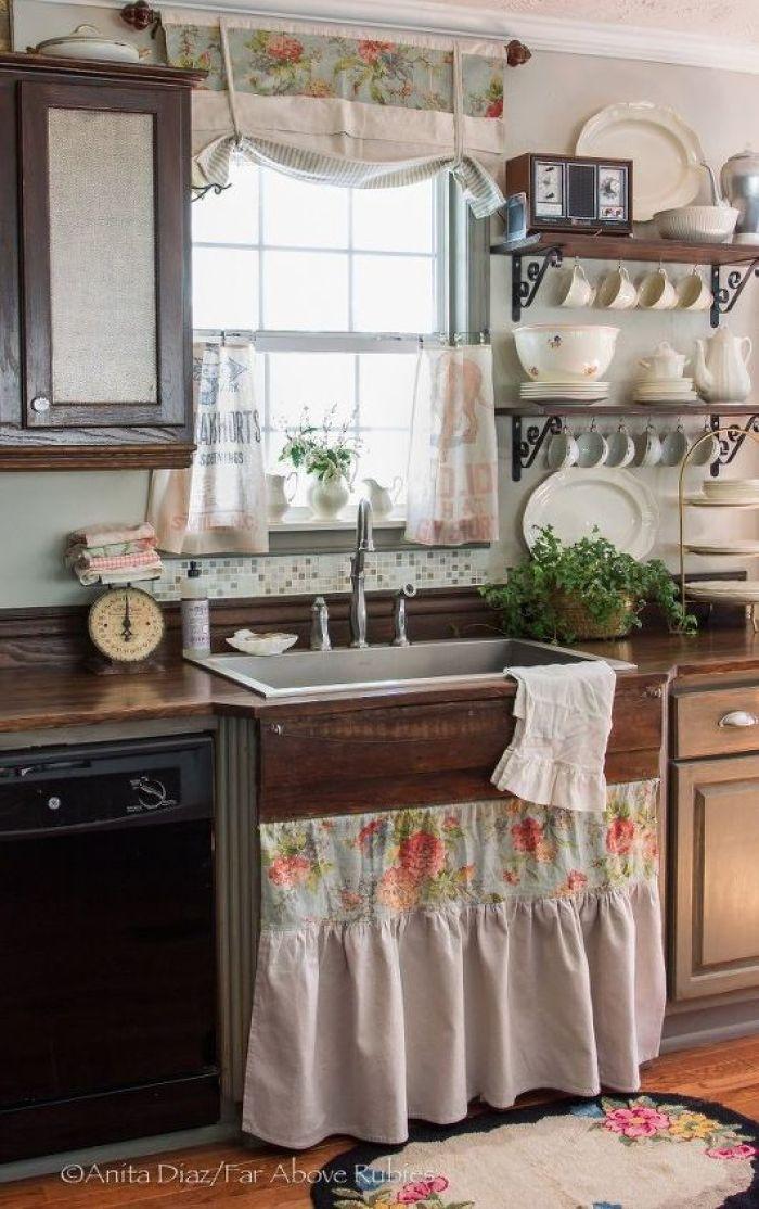 Vintage διακόσμηση στο σπίτι: vintage κουρτίνες στην κουζίνα
