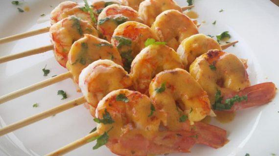 Γαρίδες σουβλάκι με σάλτσα μουστάρδας – Εξαιρετική συνταγή