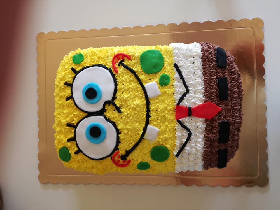 Τούρτα για παιδικά γενέθλια Μπομπ Σφουγγαράκης βήμα βήμα