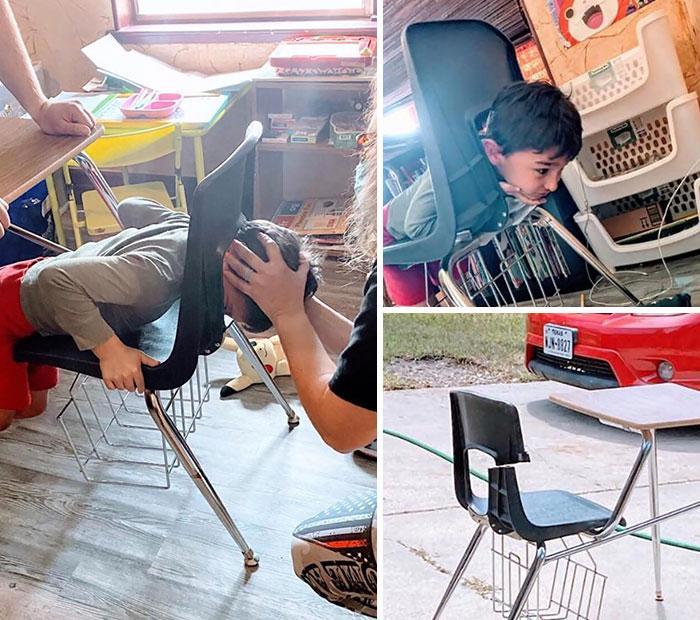 11 φωτογραφίες παιδιών που έκαναν εξ αποστάσεως διδασκαλία: παιδί κόλλησε το κεφάλι του στην καρέκλα