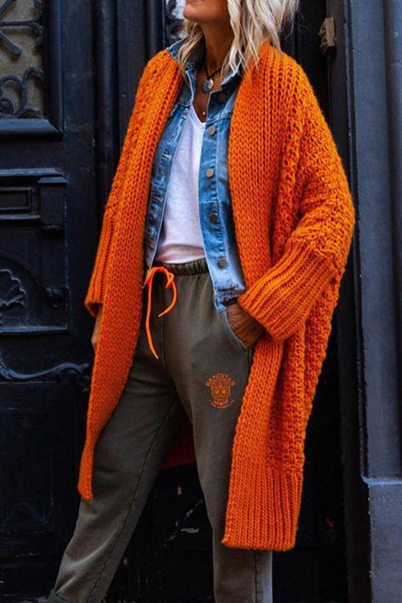 Knitwear outfit: Πορτοκαλί πλεκτό πανωφόρι