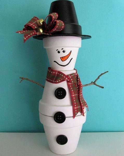 Χριστουγεννιάτικες κατασκευές με πήλινες γλάστρες: Χριστουγεννιάτικος χιονάνθρωπος