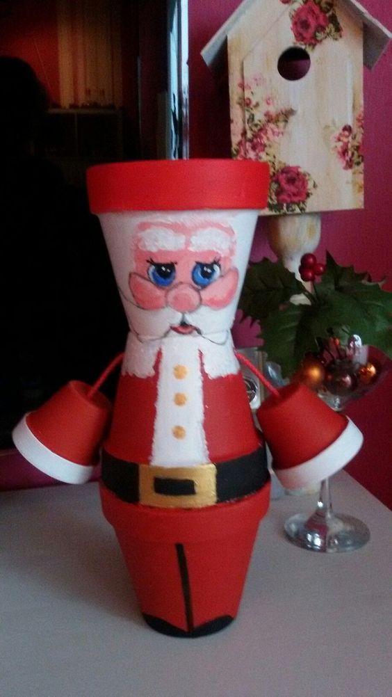 Χριστουγεννιάτικες κατασκευές με πήλινες γλάστρες: Χριστουγεννιάτικο διακοσμητικό Άι - Βασίλης για τα παιδιά!