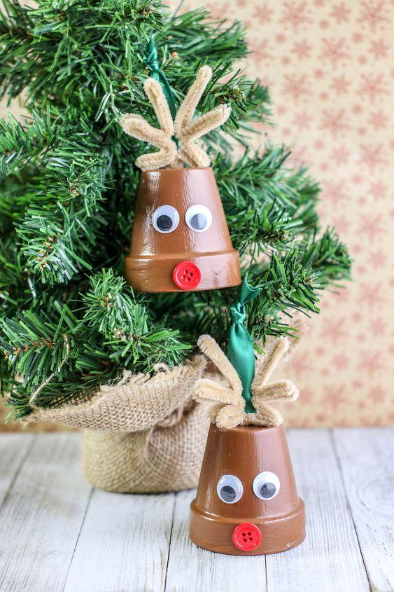 Χριστουγεννιάτικες κατασκευές με πήλινες γλάστρες: Χριστουγεννιάτικα στολίδια για το δέντρο
