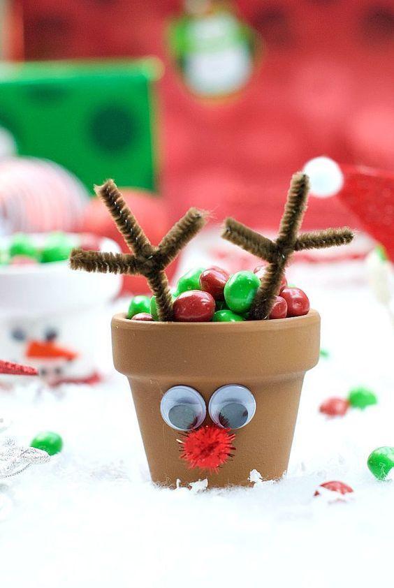 Χριστουγεννιάτικες κατασκευές με πήλινες γλάστρες: Ρούντολφ το ελαφάκι...με πήλινη γλάστρα