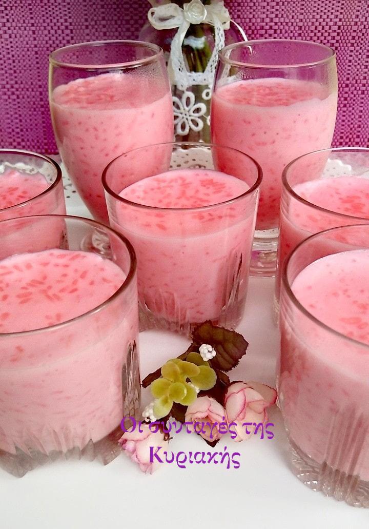 ρυζόγαλο με κρέμα φράουλα συνταγή