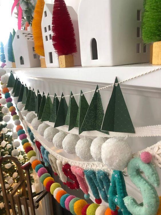 Χειροποίητες χριστουγεννιάτικες γιρλάντες από χαρτί