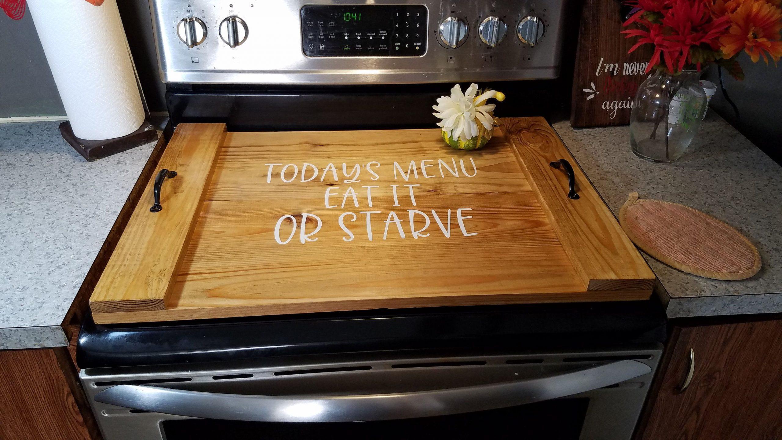 Ξύλινο κάλυμμα για τον φούρνο της κουζίνας από ξύλο κοπής