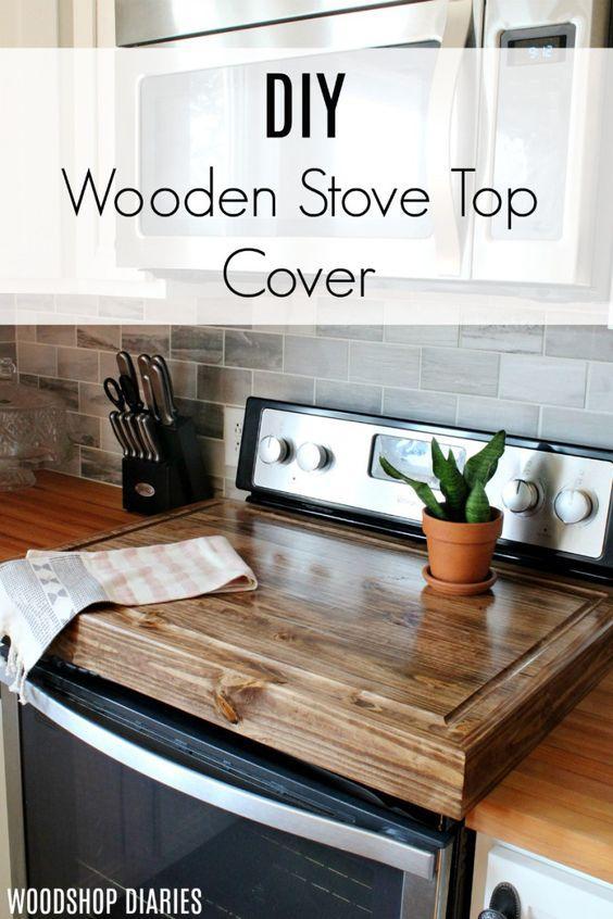 Ξύλινο κάλυμμα για τον φούρνο από παλιό ντουλάπι