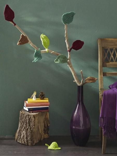 15 μοντέρνες ιδέες διακόσμησης με πλεχτά: Πλεκτό διακοσμητικό για το σπίτι με πλεκτά φύλλα δέντρου