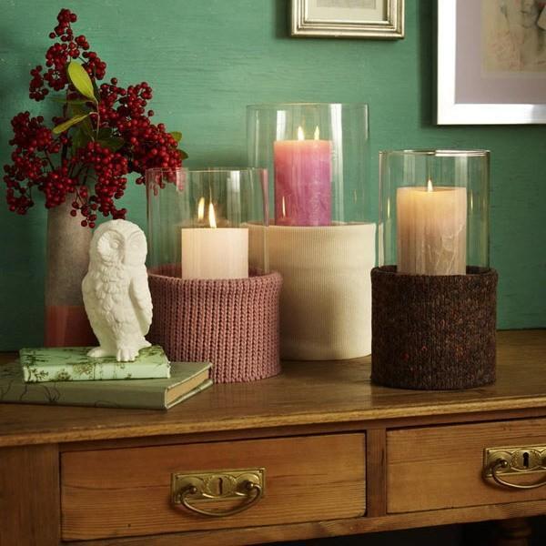 15 μοντέρνες ιδέες διακόσμησης με πλεχτά: Πλεκτά διακοσμητικά για τα κεριά