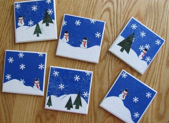 Ιδέες για χριστουγεννιάτικα χειροποίητα κεραμικά σουβέρ: Χριστουγεννιάτικα σουβέρ από χοντρό χαρτόνι με χριστουγεννιάτικα σχέδια