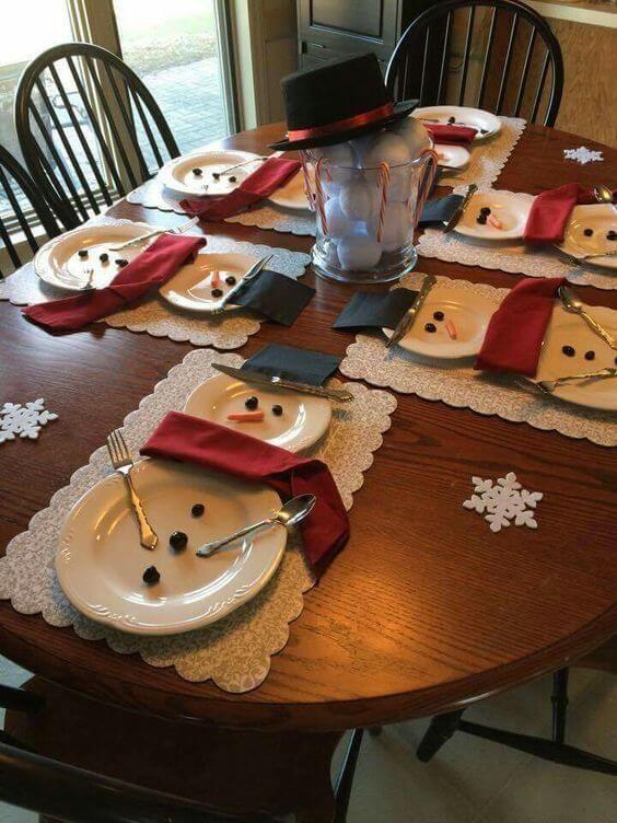 χριστουγεννιάτικη διακόσμηση: Ενωμένα πιάτα σε σχήμα χιονάνθρωπου για το χριστουγεννιάτικο τραπέζι