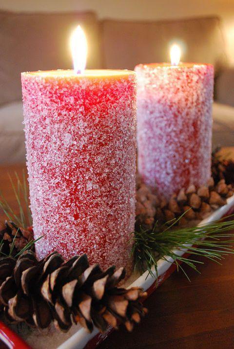 χριστουγεννιάτικη διακόσμηση: Κεριά βουτηγμένα μέσα σε χοντρό αλάτι
