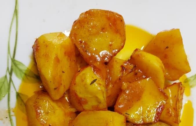 Καραμελωμένες πατάτες φούρνου κοκκινιστές συνταγή