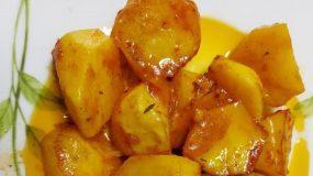 Καραμελωμένες πατάτες φούρνου κοκκινιστές
