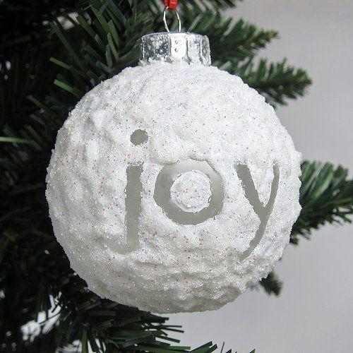 Χριστουγεννιάτικη γυάλινη μπάλα με λευκό γκλίτερ