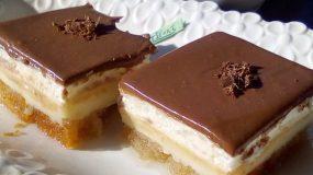 Υπέροχο γλυκό ψυγείου με φρυγανιές κρέμα & γκανάζ σοκολάτας