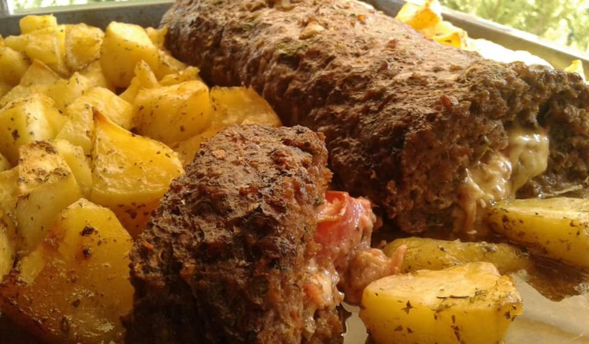 Ρολό κιμά με μπέικον & πατάτας στον φούρνο