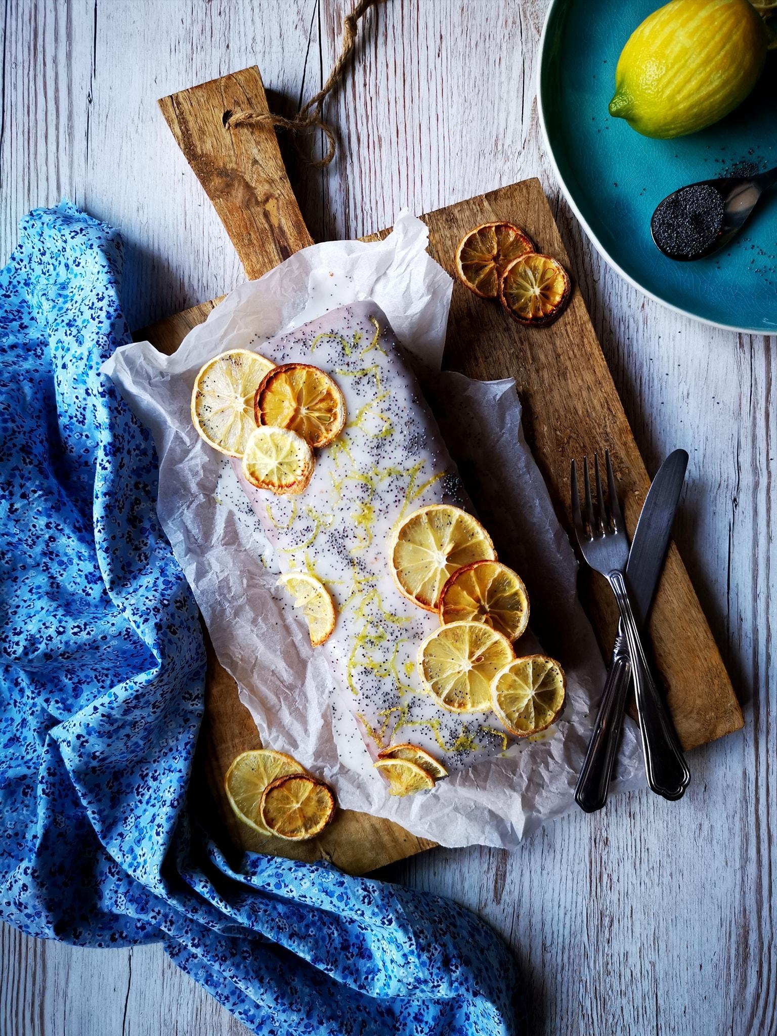 Αφράτο κέικ λεμονιού με αριάνι και γλάσο