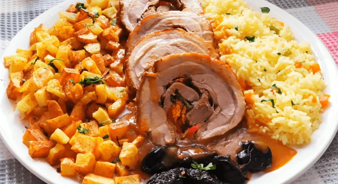 Γεμιστό μαριναρισμένο ρολό χοιρινό με σάλτσα συνταγή